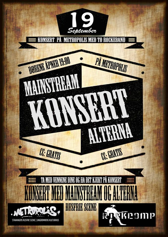 Alterna og Mainstream torsdag 19. sept kl. 19.00