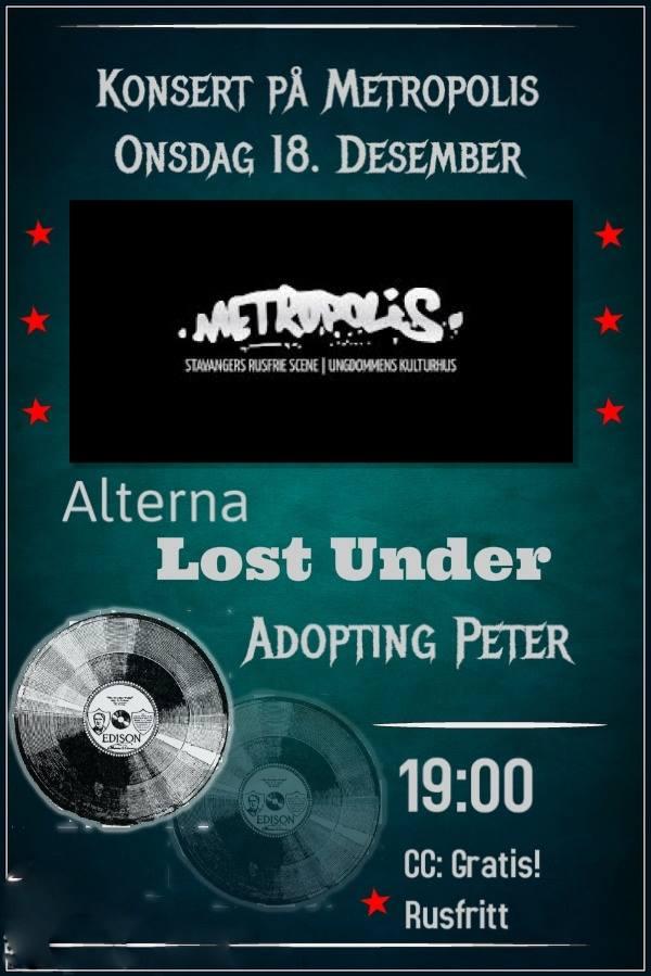 Konsert med Lost Under, Alterna og Adopting Peter – onsdag 18. desember kl. 19.00