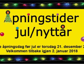 Åpningstider Jul/nyttår