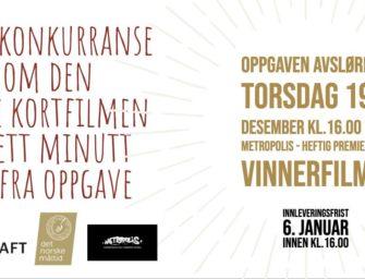 Filmkonkurranse – avspark torsdag 19. desember kl. 16.00