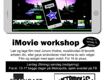 iMovie workshop lørdag 12. okt filming og søndag 13. okt redigering kl. 13.00 – helt gratis