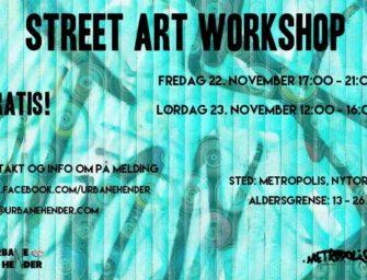 Gratis Street Art Workshop! – endre inngangens fasade! fredag 22.nov kl.17.00