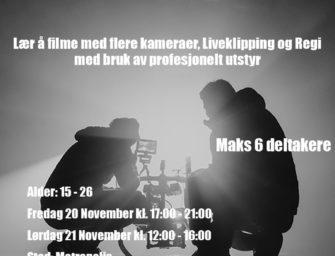 Flerkameraproduksjon og Livestream Workshop med Lars Rune Høgemark 20. og 21. nov helt gratis